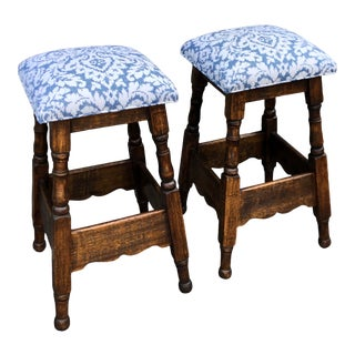 Antique English Oak Counter Bar Stool W Blue & White Seats For Sale
