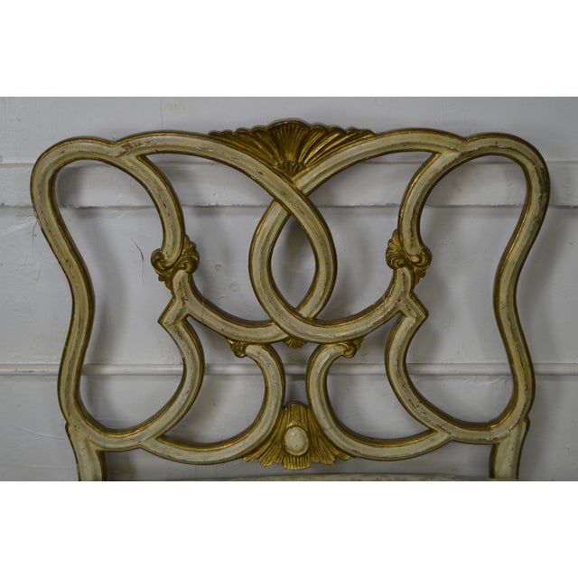 Green Antique Italian Painted & Upholstered Foyer Settees Benches - A Pair For Sale - Image 8 of 10