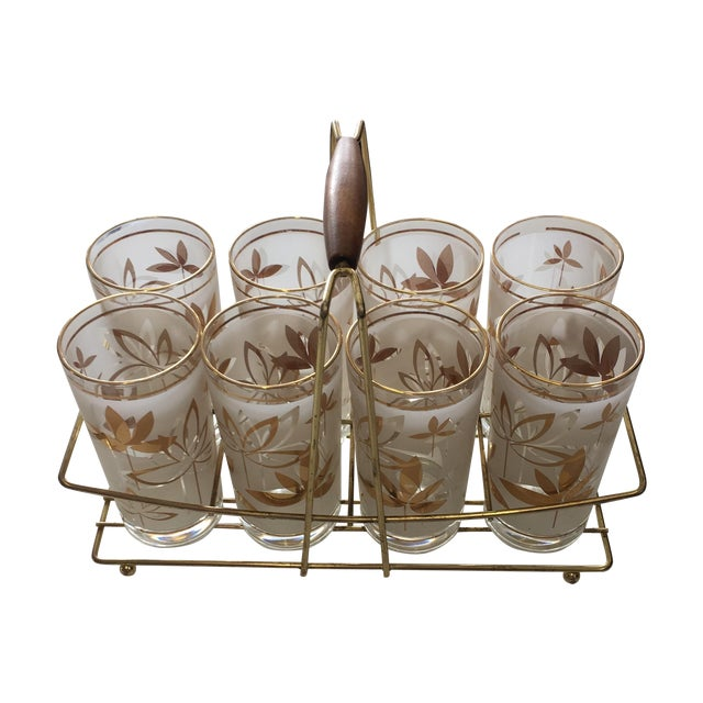 Mid-Century Cocktail Glasses W Caddy - S/9 - Image 1 of 7