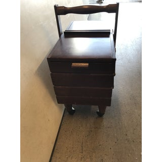 Mid Century Expandable Sewing Box on Wheels Preview