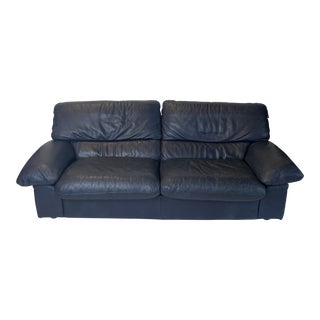 Roche Bobois Blue Leather Sofa For Sale