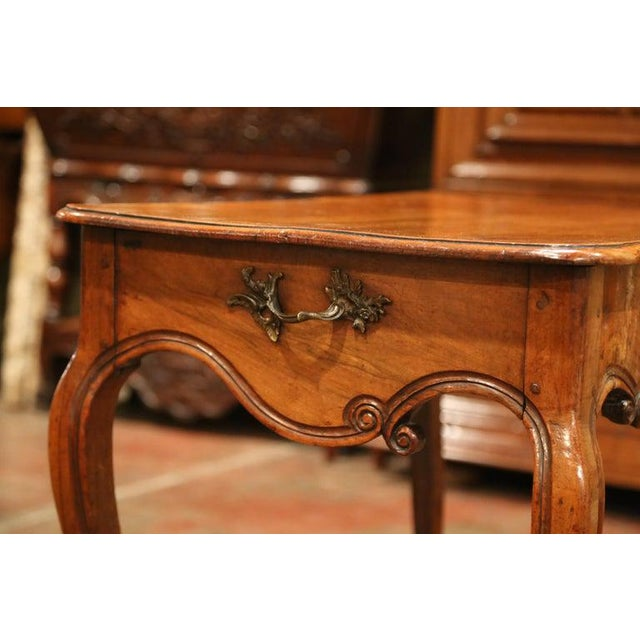 Metal 18th Century French Louis XV Carved Bombe Walnut Console Table From Provence For Sale - Image 7 of 9