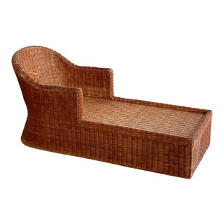 1990s Vintage Wicker Chaise For Sale