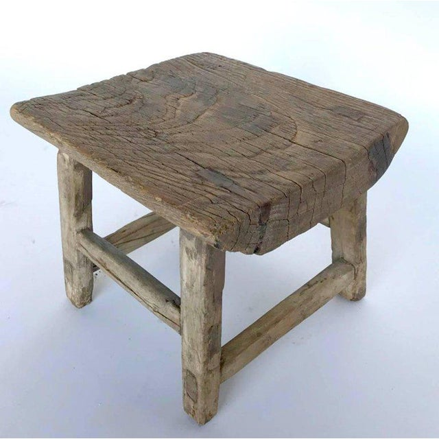 Rustic Japanese Elm Stool or Small Table For Sale - Image 4 of 8