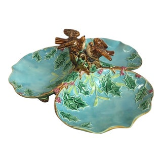 Majolica Three Part Server With Holly and Birds George Jones For Sale