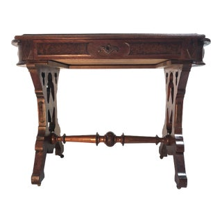 Eastlake Victorian Leather Top Mahogany Hall Table For Sale
