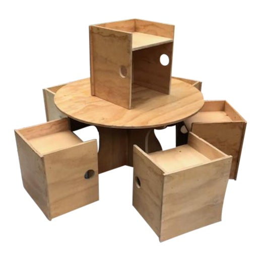 Studio Craft Modern Children's Table & Six Box Chairs - 7 Pieces For Sale