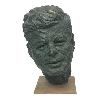 John F Kennedy Original Reproduction Alva Museum Clay Sculpture Bust by Berks For Sale