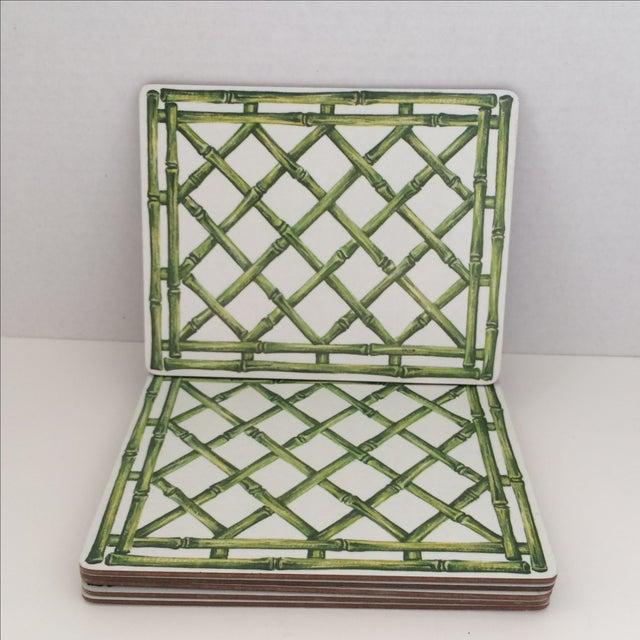 English Melamine Bamboo Lattice Motif Trivets - Image 2 of 6