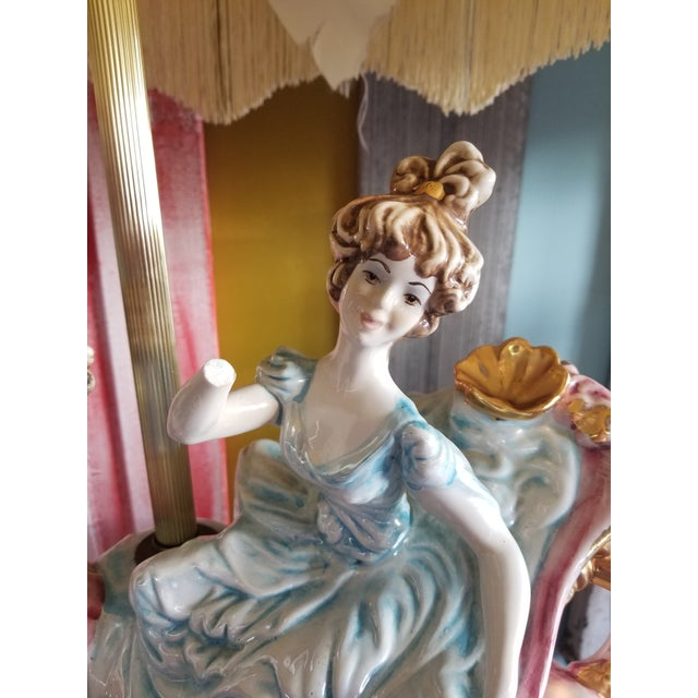 Vintage Mid 20th Century Italian Lady Cherubs Swans Lamps - a Pair For Sale - Image 9 of 12