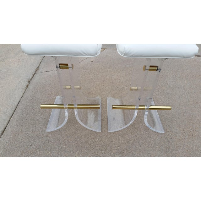 1970s Vintage Charles Hollis Jones Style Lucite Stools - a Pair For Sale - Image 5 of 11