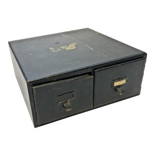 Vintage Distressed Black Wood 2 Drawer File Cabinet