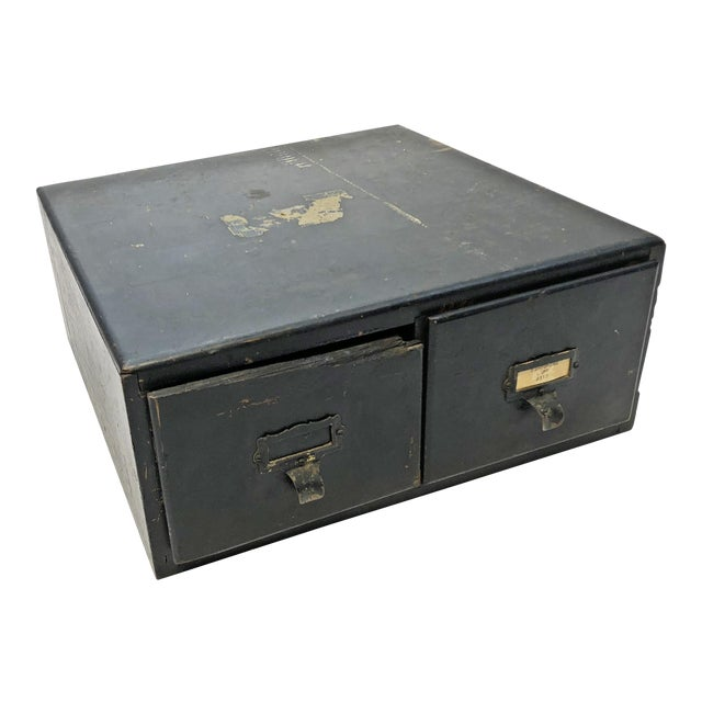 Vintage Distressed Black Wood 2 Drawer File Cabinet Chairish