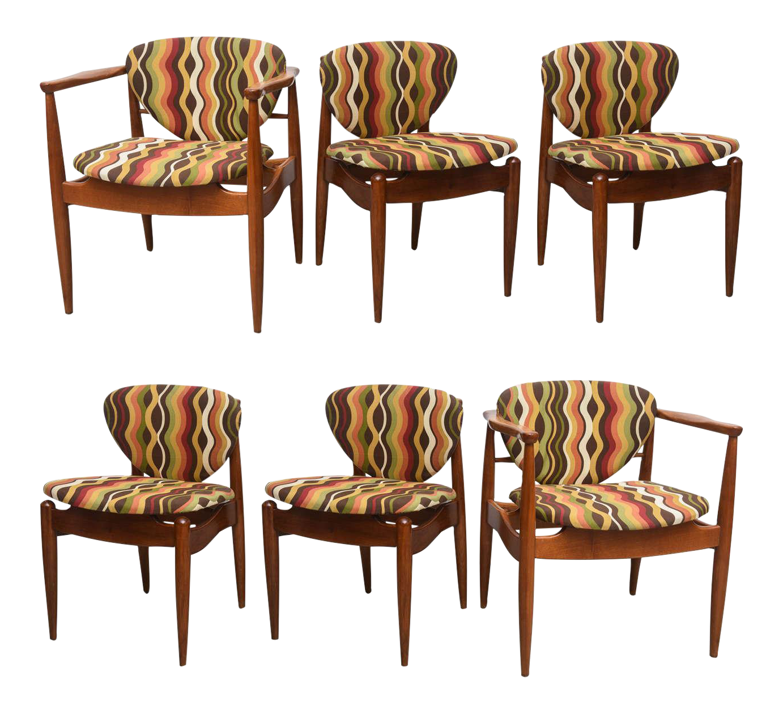Set Of Six Danish Teak Dining Chairs, 1960s Denmark