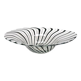 Contemporary Art Glass Black White Clear Caned Swirl Centerpiece Bowl For Sale