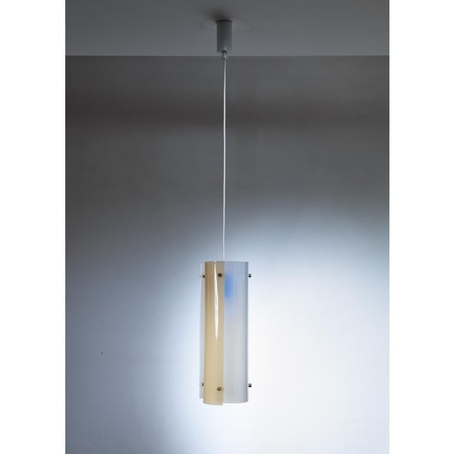 Stockmann Orno Yki Nummi White and Yellow Plexiglass Pendant for Orno, Finland For Sale - Image 4 of 4