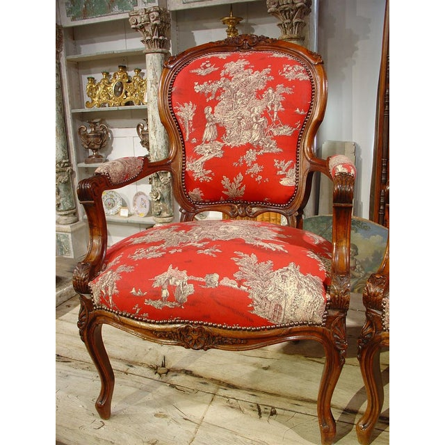 Pair of Louis XV Style Walnut Fauteuils with Toile de Jouy Upholstery For Sale - Image 4 of 10