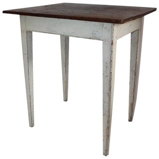 19th Century Country Side Table Original White Painted Surface For Sale