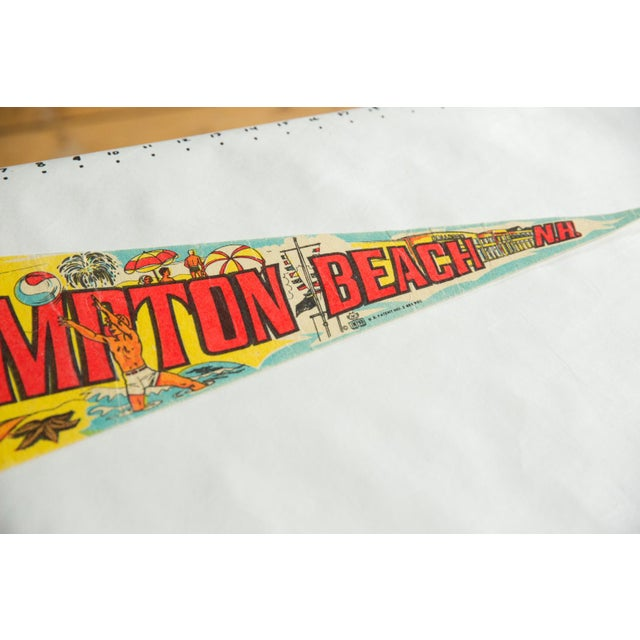 :: Vintage circa 1970s Hampton Beach New Hampshire felt flag souvenir banner pennant with imagery of people enjoying a day...
