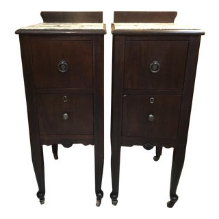 Early 20th Century Vintage Trendy Fabric Decoupaged End Tables - a Pair