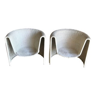 Mid Century Modern Eero Aarnio Sculptural Woven Rattan Wicker Lounge Arm Chairs - a Pair For Sale