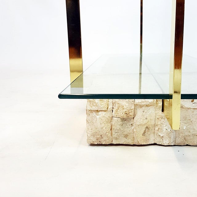 Brass Etagere With Faux Tesselated Marble Base - Image 5 of 5