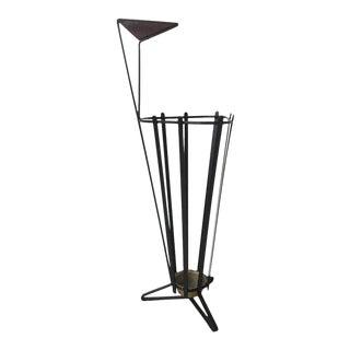 Metal and Teak Tripod Umbrella Stand in Style of Mathieu Matégot, 1950s