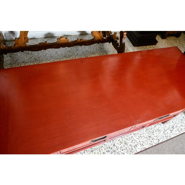 Red Asian Red Wooden Coffee Table For Sale - Image 8 of 10