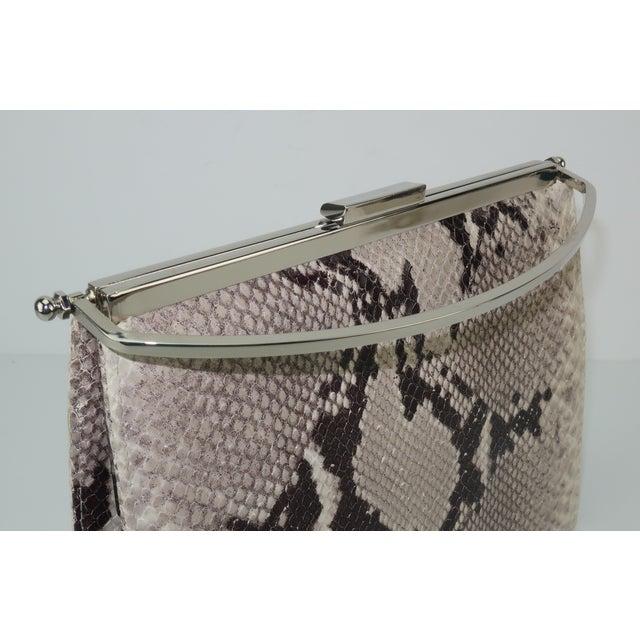 Animal Skin Vintage Neiman Marcus Python Printed Leather Handbag With Silver Handle For Sale - Image 7 of 12