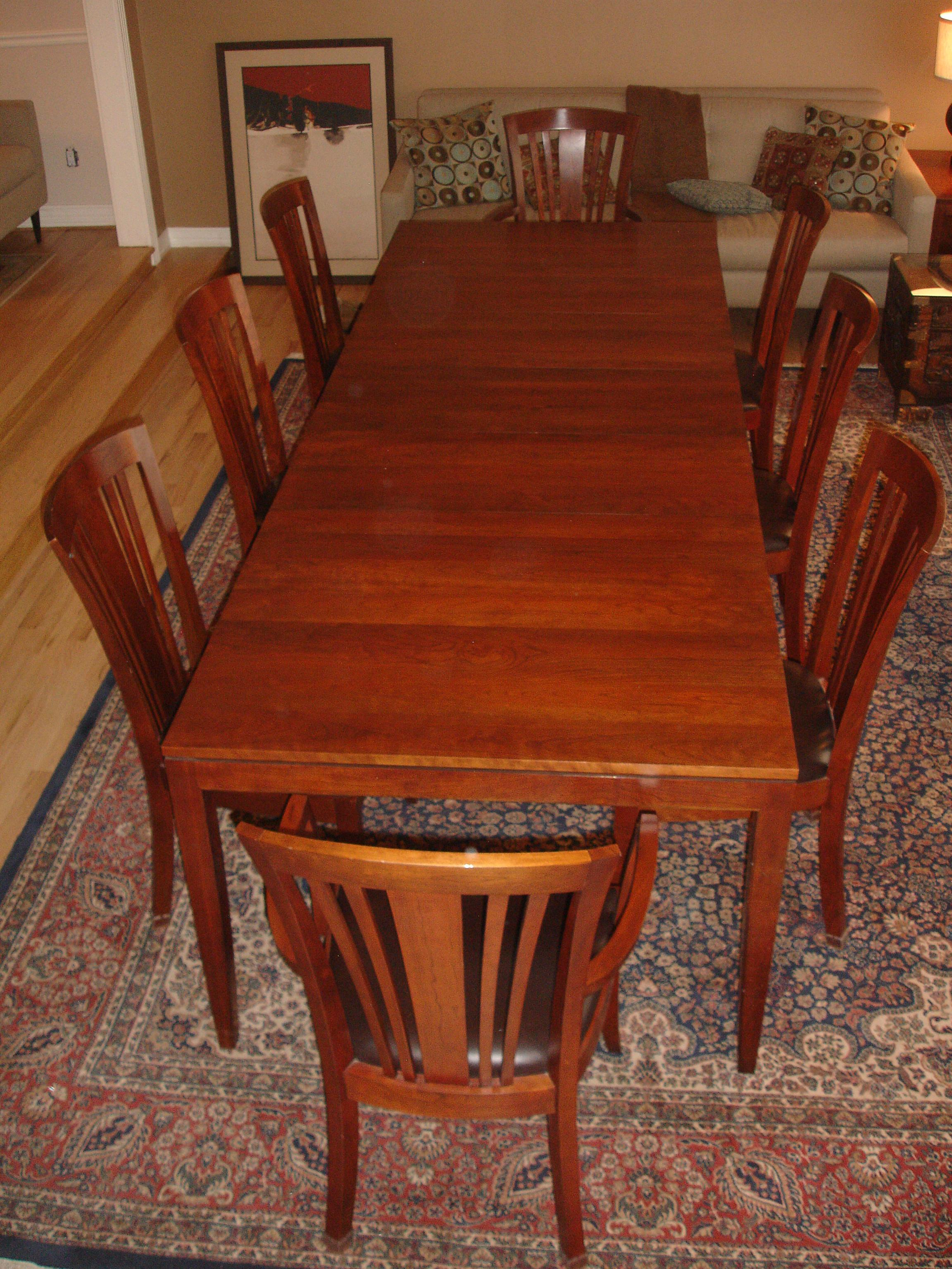 Gentil One (1) Rectangular Straight Leg Metropolitan Dining Table In Solid Cherry  With Three Aproned