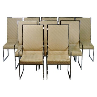 Set of Ten Milo Baughman Mid-Century Modern Chrome High Back Dining Chairs For Sale