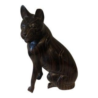 Vintage Primitive Tiger Wood Cat Sculpture For Sale
