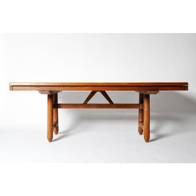 Mid-Century Modern Extension Dining Table attributed to Guillerme et Chambron For Sale - Image 4 of 8