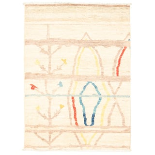 """Colorful and Fresh Hand-Knotted Rug-4'2"""" X 5'9"""" For Sale"""