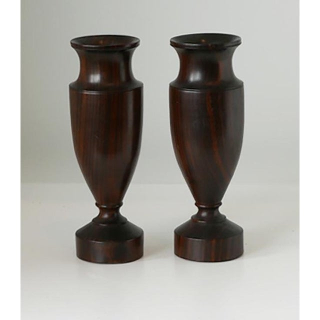 Antique Turned Wood Urns These are a pair of small urns. A perfect addition to a bookshelf or desk