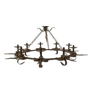 Massive Hand Forged Wrought Iron Gothic Nine Light Candle Chandelier For Sale