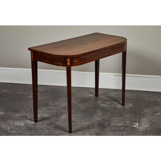Georgian 19th Century English Mahogany Inlaid Console Table For Sale - Image 3 of 9