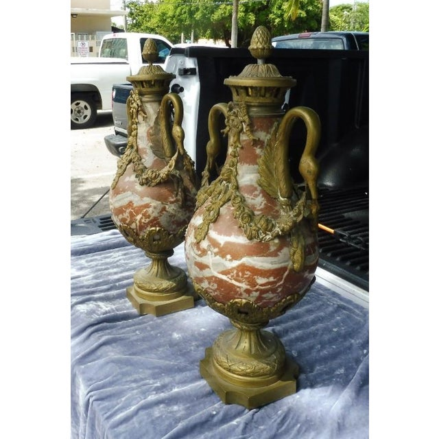 1950s French Rouge Marble Urns With Bronze Swan Heads and Mounts - a Pair For Sale - Image 4 of 13