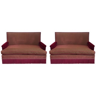 Early 21st Century Mohair & Silk Striped Sofa - a Pair For Sale