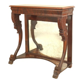 Early 19th Century English Regency Mirrored Mahogany Console Table For Sale