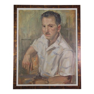 Original Signed Portrait Painting of a Patrician Boston Gentleman, 1940s For Sale