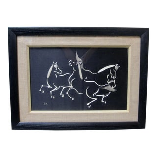Vintage Black and White Trio of Dancing Horses Silk Textile Framed For Sale