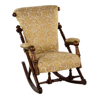 Late 19th Century Victorian Style Floral Upholstered Walnut Rocking Chair For Sale