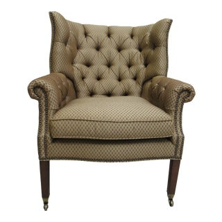 1990s Vintage Henredon Chesterfield Style Wing Back Living Room Chair For Sale
