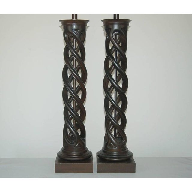 Frederick Cooper Frederick Cooper Wood Table Lamps Brown For Sale - Image 4 of 8