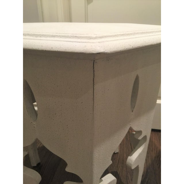 Moroccan Style White Wooden End Tables - a Pair - Image 5 of 10