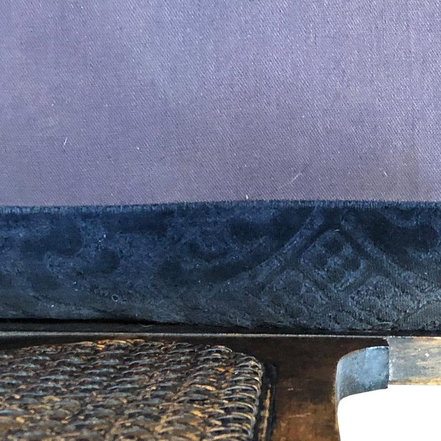 Asian 1900s Chippendale Colonial Style Cane Back Carved Wood Blue Fortuny Style Velvet Fabric Settee Antique Sofa or Daybed For Sale - Image 3 of 10