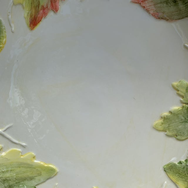 Vintage Italian Majolica White With Green Leaves Salad Bowl For Sale - Image 4 of 5