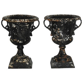 Pair of 19th Century Cast Iron Planters With Rope Designed Handles For Sale