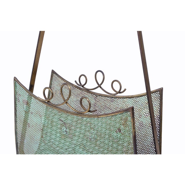 1950s Brass Magazine Rack Attributed to Mathieu Matégot For Sale - Image 5 of 10